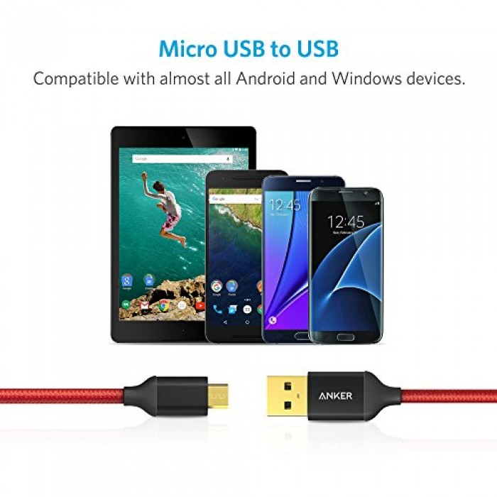 [2-Pack] Anker 6ft / 1.8m Nylon Braided Tangle-Free Micro USB Cable with Gold-Plated Connectors for Android, Samsung, HTC, Nokia, Sony and More (Red)