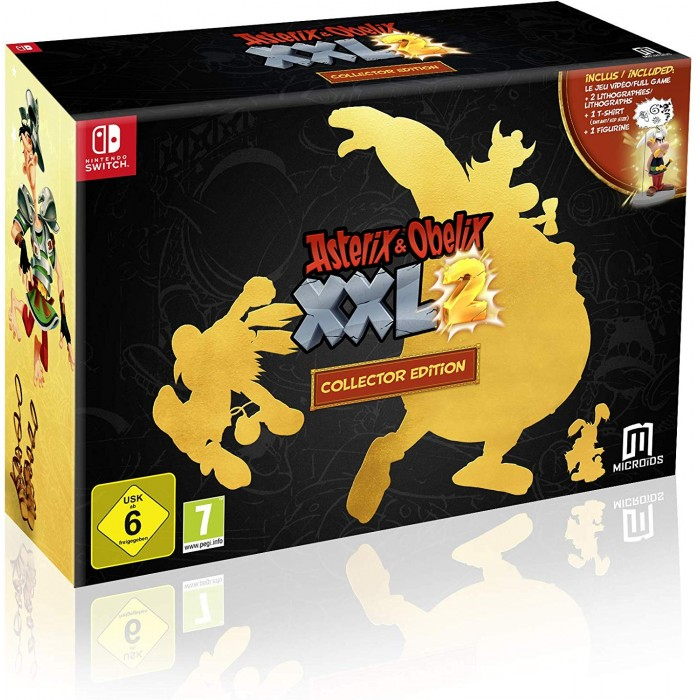 Asterix &  Obelix XXL2 Collector s Edition - Nintendo Switch - includes Asterix Figurine, Kid s Sized T-shirt, Two Lithographs